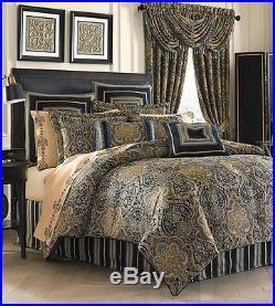 J. QUEEN Venezia QUEEN COMFORTER SET 7pc EUROS PILLOW! Blue Gold Teal Damask