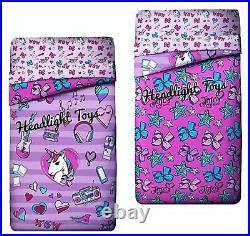 JoJo Siwa Full Purple Music Bedding Comforter Sham 4 Pc Sheet Set Bow Pillow Lip