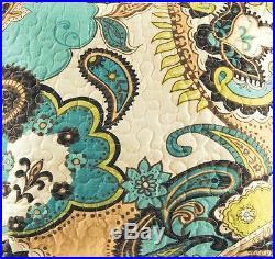 KASBAH 3pc FULL / QUEEN QUILT SET GREEN BLUE TAN BROWN MOROCCAN BOHO COMFORTER