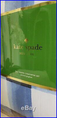 KATE SPADE NEW YORK Painted Gingham FULL/QUEEN 3pc Comforter Set BLUE WHITE