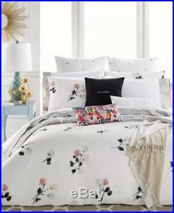 KATE SPADE NEW YORK Willow Court FULL/QUEEN 3pc Comforter Set WHITE GRAY NEW