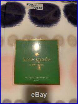 Kate Spade 3-PC Full/Queen Ikat Dot Navy Pink Comforter Set Brand New College