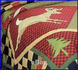LODGE DEER CABIN Full Queen QUILT SET BEAR FISH RUSTIC MOUNTAIN RED COMFORTER