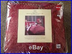 Lenox Waltx QUEEN Comforter Set 4 Piece Red and Gold New