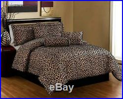 Leopard Print Comforter Set Bed In A Bag Shams Skirt Decor Pillows 7 PC Bedding
