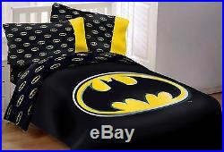 Licensed DC Batman Emblem 5 Piece Reversible Soft Luxury Full Size Comforter Set