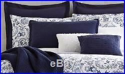 Liz Claiborne Eden Queen Comforter Set NEW Blue Floral White Bedding 5 Piece HTF