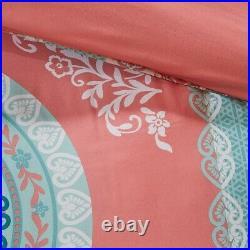 Loretta Full 9pc Comforter & Sheet Set in Coral Pink & Aqua Blue Medallion Print
