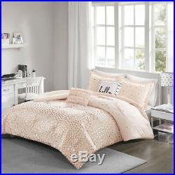 Lovely Blush Gold Grey Silver Metallic Geometric 5 Pcs Full Queen Comforter Set