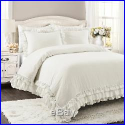 Lush Decor Ella Shabby Chic Ruffle Lace Comforter White 3Pc Set Full/Queen