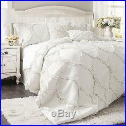 Lush Decor FARMHOUSE Comforter 3 Piece Set with Pillow Shams KING SIZE White