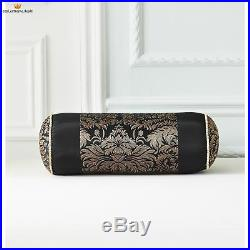 Luxurious Jacquard Gold Black 7 pcs Cal King Queen Comforter Bedskirt Set