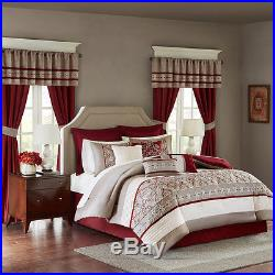 Luxurious Red White Taupe Embroiderey Comforter Curtain 24 pc Cal King Queen Set