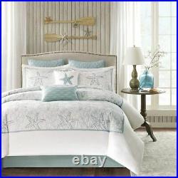 Luxury 4pc Coastal Blue & White Beach Cotton Comforter Set AND Decorative Shams