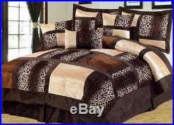 Luxury 7 Piece Leopard Micro Suede Bed Comforter Sheet Set Bedding Brown Queen