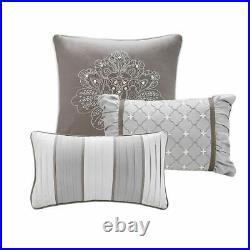 Luxury 7pc Grey & Silver Motif Jacquard Comforter Set AND Decorative Pillows