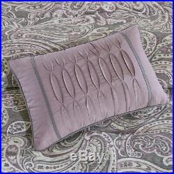 Luxury 7pc Purple & Grey Paisley Print Comforter Set AND Decorative Pillows