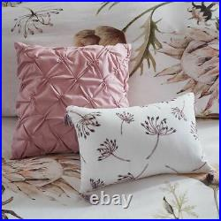 Luxury 8pc Blush Pink Floral Cotton Printed Comforter Set AND Decorative Pillows