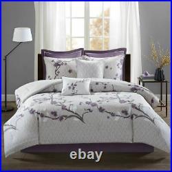 Luxury 8pc Purple & Grey Floral Cotton Comforter Set AND Decorative Pillows