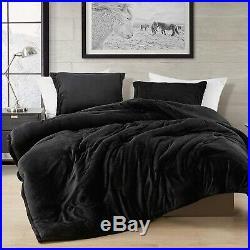 Luxury Black Faux Fur Plush Goose Down Alt 3 pcs King Queen Comforter sham Set
