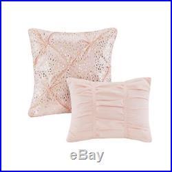 Luxury Blush Pink & Gold Metallic Glitz Comforter Set AND Decorative Pillows