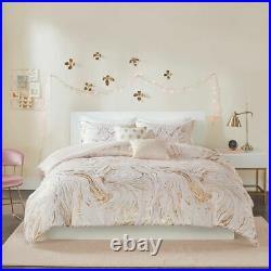 Luxury Blush Pink & Gold Metallic Swirls Comforter Set AND Decorative Pillows
