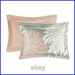 Luxury Blush Pink & Grey Floral Comforter Set AND Matching Sheet Set