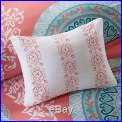 Luxury Coral & Aqua Large Medallion Comforter Set AND Matching Sheet Set