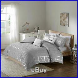 Luxury Grey & Metallic Silver Geometric Comforter Set AND Decorative Pillows