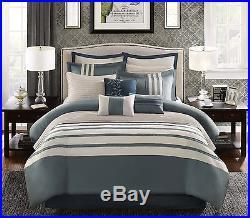 Luxury Queen Comforter Set Blue Duvet Cover 12 Piece Bedding Shams Pillow Harlem