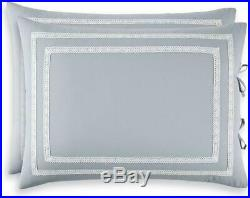 MARTHA STEWART 8 Piece Queen Comforter Set Embroidered Floral Reversible, Blue