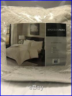 Madison Park Arya 3-Pc. Faux Fur Embroidered Comforter Set Ivory FULL/QUEEN 391
