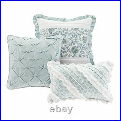 Madison Park Dawn Queen Size Bed Comforter Set Bed In A Bag Aqua Floral Sh