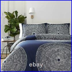 Marimekko 221437 Fokus 3-Piece Comforter Set, Navy, Full/Queen