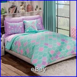 Mermaid Juniors Girls Reversible Comforter Set 3 Pcs Twin Size