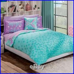 Mermaid Juniors Girls Reversible Comforter Set 4 Pcs Full Size