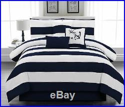 Microfiber Nautical Comforter set Navy Blue Striped Twin Full Queen King CalKing
