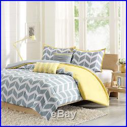 Modern Blue Grey Yellow Chevron Stripe Sport Aqua Teal Comforter Set & Pillows