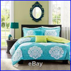 Modern Blue White Teal Aqua Green Chic Girls Soft Scroll Comforter Set & Pillows
