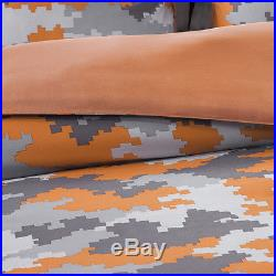 Modern Camo Digital Camouflage Orange Grey Silver Boy Comforter Set & Pillow New