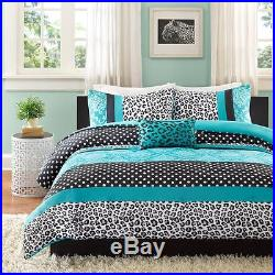 Modern Chic Girls Pink Teal Blue Black Zebra Stripe Dots Comforter Set & Pillow