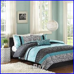 Modern Chic Teal Aqua Blue Grey Black Polka Leopard Dot Girls Soft Comforter Set