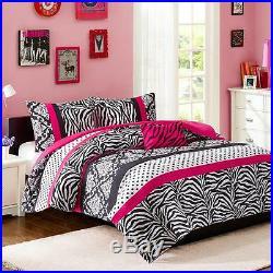 Modern Fun Chic Pink White Animal Zebra Polka Dots Girl Comforter Set Full Queen