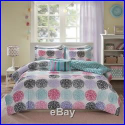 Modern Fun Pink Blue Teal Purple Grey Aqua Stripe Polka Dot Girls Comforter Set