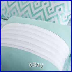 Modern Green Blue Light Aqua Modern Chevron Stripe Girls Comforter Set & Pillows