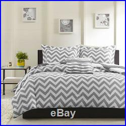 Modern Reversible Grey White Chevron Stripe Comforter Set & Pillow Full Queen