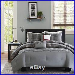 Modern Sporty Grey Black Red White Plaid Stripe Soft Comforter Set & 2 Pillows