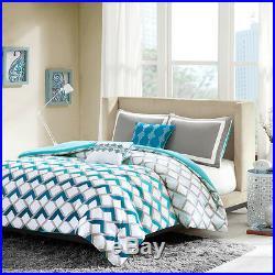 Modern Teal Light Blue Aqua Sporty Grey Chevron Stripe Geometric Comforter Set