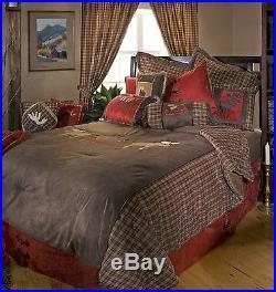 Moose Canoe Plaid Rustic Cabin Bedding Set Comforter Red Brown Lodge New