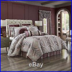NEW! $350 J. Queen New York Gianna 4 Piece Comforter Set Burgundy/Grey Cal-King